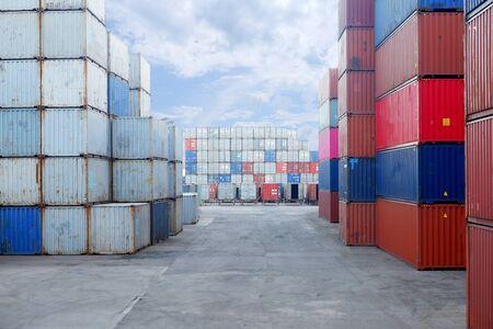 Container yard in the port to wait for export and import