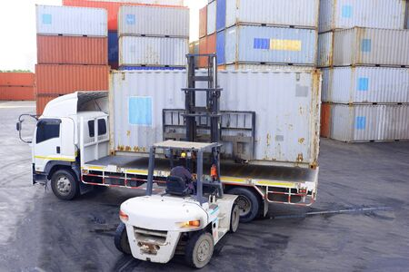 Container handlers Working in the container yard Stock Photo