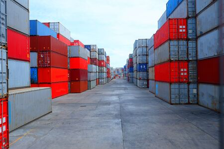 Containers in cargo ships, container ships in the export business, industrial and transportation concepts