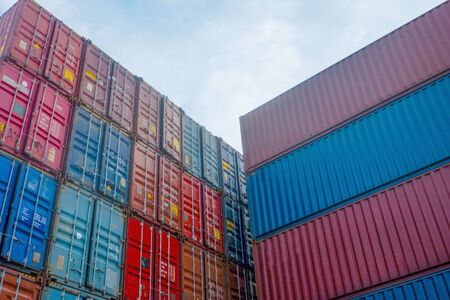 Container stacks in vessels waiting to be imported and exported