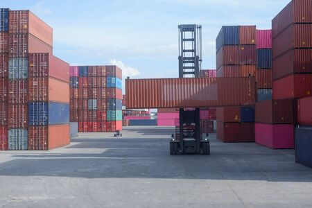 Container handlers in the port for export and import