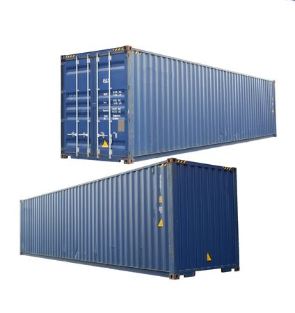 Side view And in front of Blue container, white background for ease of use