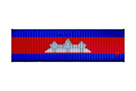 The concept of Cambodia export-import and national delivery of goods. Close-up of the container with the national flag of Cambodia on white isolated background.