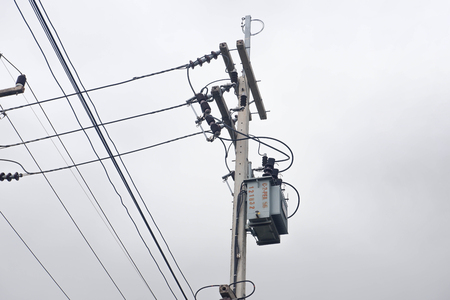 Transformer on pole, one phase transformer for converting high voltage to low voltage in rural area