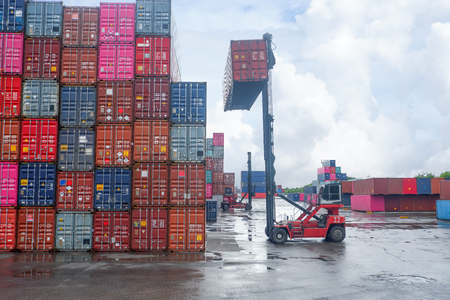 Container lifting work in a boat after the rain