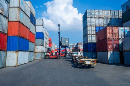 Container handlers In the shipping dock with storage cabinet background, industrial ideas Import and export