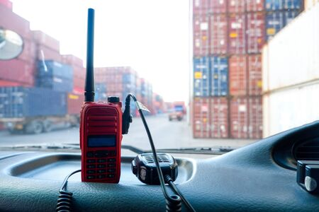 Communication equipment attached to the car background