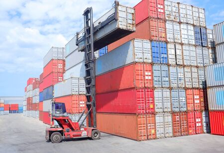 Container handlers working in port import and export industry