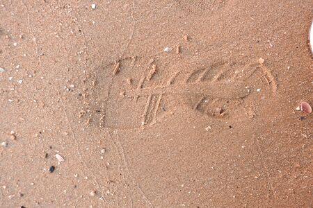 Beautiful shoe marks on the sand