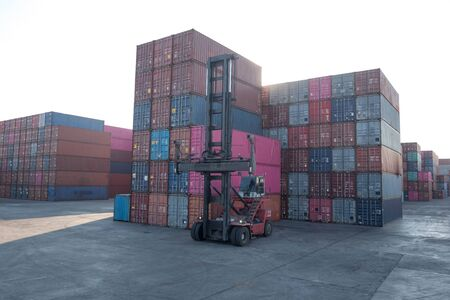 Container loading and unloading equipment in the harbor Import and export concept