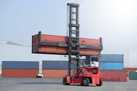 Container handlers in the harbor, transportation concepts