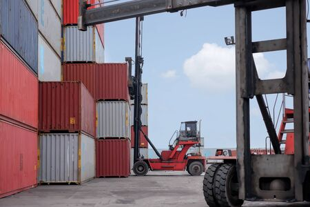 View of container forklift trucks for export, import, transportation, transportation concept, import business idea and export concept