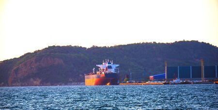 Cargo ship waiting to be sent for export Stock fotó