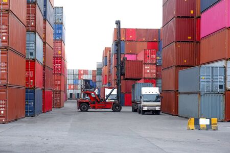 Container handling equipment in the dock