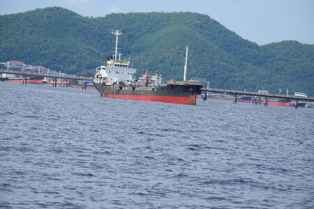 Side view of the oil tanker in the sea