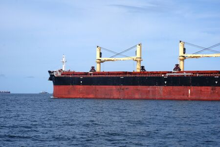 A large crude oil tanker in the middle of the sea
