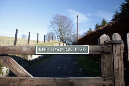 sheep warning: Sign at Kildrummy castle telling dog owners to keep them ona lead Stock Photo