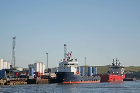 Oil Rig supply vessels in Aberdeen harbour Stock Photo - 2533961