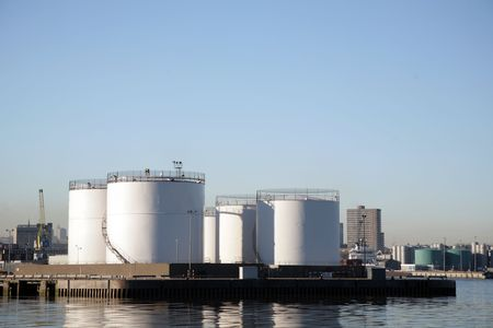 storage tanks: Oil product storage tanks in Aberdeen harbour