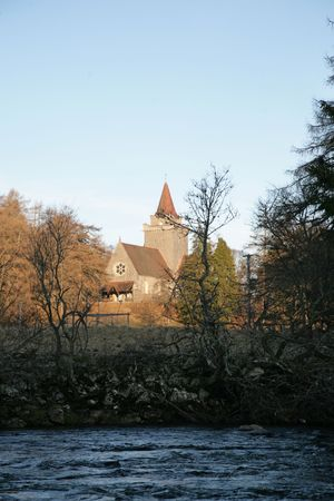 royality: Crathie Church, Near Balmoral - where the Queen goes when at Balmoral Stock Photo