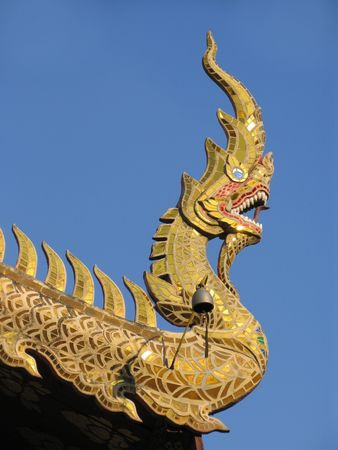 naga china: Dragons head detail on temple in Northern Thailand