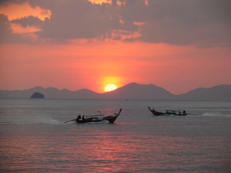 Sundown over Longtails, Krabi Front, Thailand