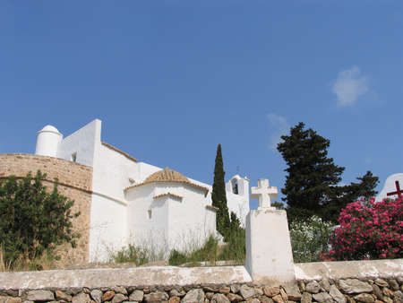 med: Church on the Island of Ibiza, in the Med Stock Photo