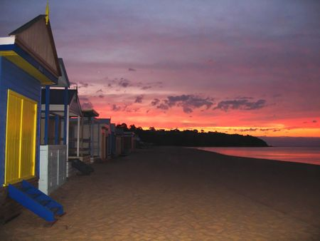 Beach Huts on Mount Martha Beach, Melbourne, Austraila Stock Photo - 2767241