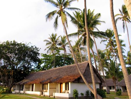 thatched cottage: Kenya hotel thatched cottage, north of Mombassa Stock Photo