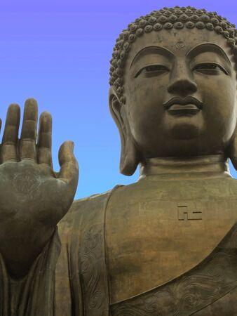 temple of heaven: Giant Buddha Statue on Lantau Island, Hong Kong Stock Photo