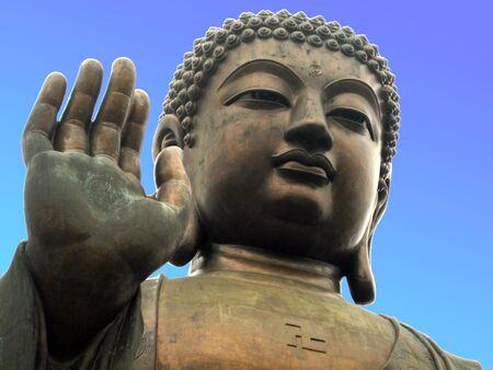 Giant Buddha Statue on Lantau Island, Hong Kong Stock Photo