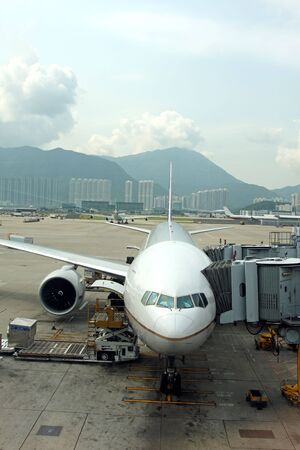 Aeroplane on the stand at Hong Kong Airport