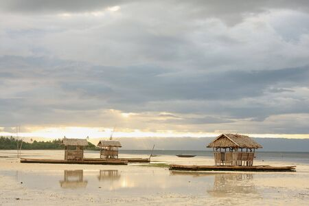 Bamboo floating house  restaurant  in Bohol, Philippines photo