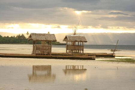 Bamboo floating house  restaurant  in Bohol, Philippines