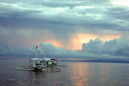 Fishing Boat on Bohol Island, Philippines Stock Photo