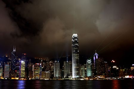 Hong Kong Island light show at Night
