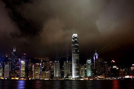 Hong Kong Island light show at Night