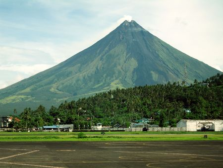 Legaspi airport with Mount Mayon in background, Philippines