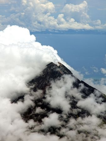mayon: Aerial photo of Mount Mayon (Volcano), Legaspi, Bicol, Philippines Stock Photo