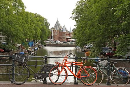 Bikes and Canals in Amsterdam Stock Photo