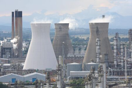 Cooling towers at Grangemouth Refinery