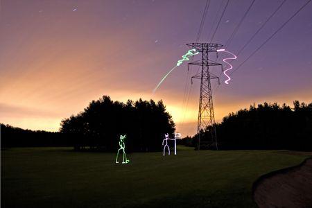 Energy Sprites playing Golf, Aberdeen Scotland Stock Photo - 3664724