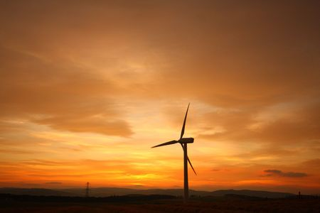 Wind turbines at sunset, Scotland Stock Photo - 3664729