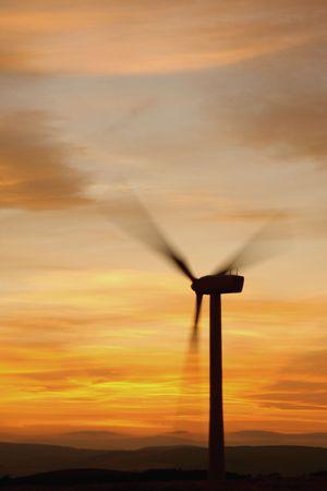 Wind turbines at sunset, Scotland