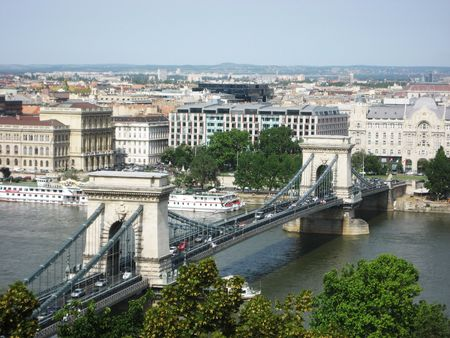 Photo of the Chain Bridge in Budapest, Hungary