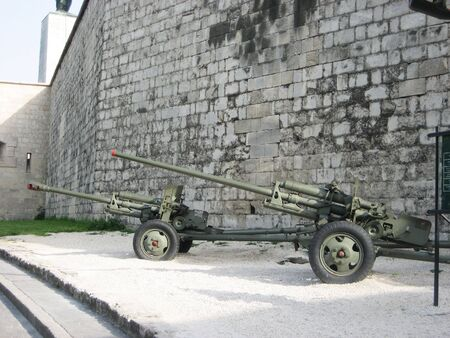 Guns on the wall in the defense of Budapest, Hungary photo