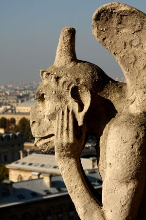 The Gargoyles of Notre Dame looking out over Paris photo