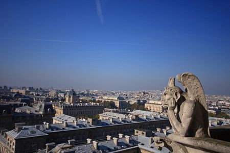 The Gargoyles of Notre Dame looking out over Paris Stock Photo