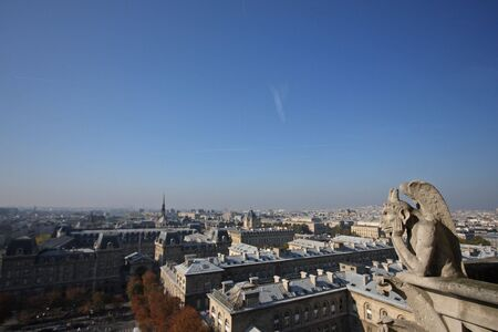 The Gargoyles of Notre Dame looking out over Paris Stock Photo - 3784590