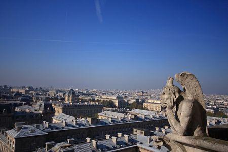 gargoyles: The Gargoyles of Notre Dame looking out over Paris Stock Photo